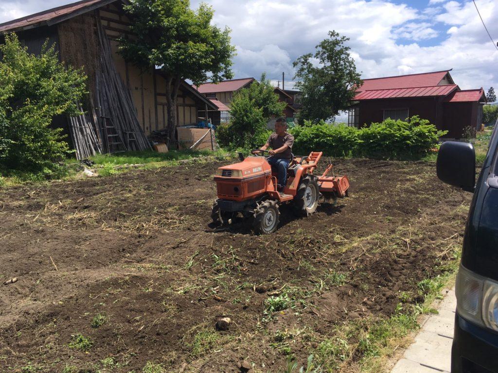 果樹園の畑を耕す